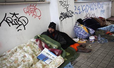Greece homeless men in At 008