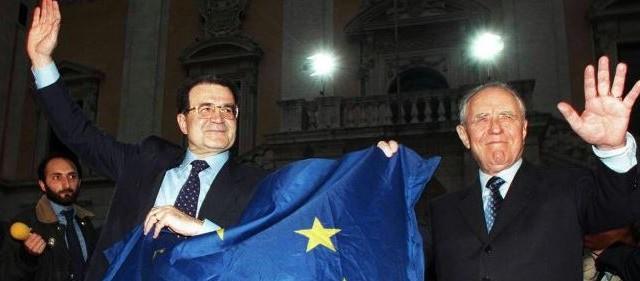 Romano Prodi mostra dei dubbi sulla gestione dell'euro e sul tasso di cambio. Ma fu sempre granitico nel sostenere l'ingresso dell'Italia nell'Eurozona.