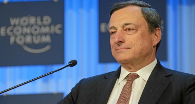 Il governatore della BCE, Mario Draghi, parla di