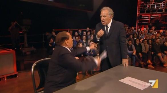 Insulti e urla dopo la lettera di Berlusconi a Travaglio: e intanto il Cavaliere si fa pubblicità e passa indenne le