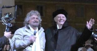 Per la tappa di Roma dello tsunami tour attesi sul palco Dario Fo e Adriano Celentano con l'inno per il Movimento 5 Stelle [VIDEO]
