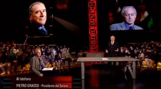 """Video della telefonata di Grasso contro Travaglio: quanto il Presidente del Senato eletto è """"meno peggio"""" di Schifani?"""