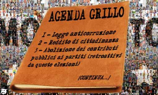 Beppe Grillo sul suo blog elenca i sedici punti fondamentali del programma del Movimento 5 Stelle
