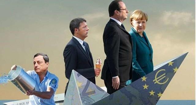 Risultati immagini per draghi rema euro renzi gelato