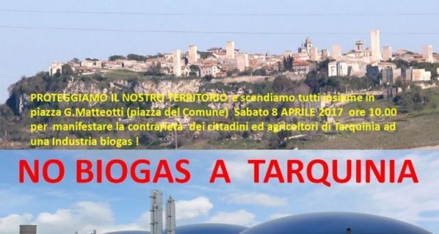 No Biogas a Tarquinia: oggi 8 aprile 2017 i cittadini scenderanno in piazza insieme alle associazioni ambientaliste per gridare il loro NO alla realizzazione dell'impianto.