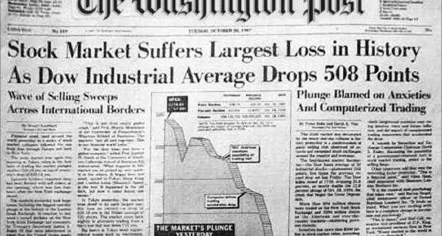 In un solo giorno l'S&P  500 perse oltre il 20% mentre il Dow Jones perse oltre il 22%. La sola motivazione di carattere fondamentale è che i titoli fossero eccessivamente sopravvalutati ma le vere causa,  piuttosto, è stata una combinazione dello scorretto uso del progresso tecnologico in atto unito a fenomeni di panic selling e ad un eccessivo uso di schemi automatici di portfolio insurance.