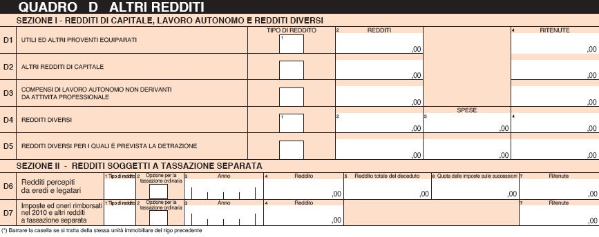 Quadro D   Modello 730 2011: Istruzioni Per La Compilazione    InvestireOggi.it