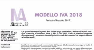 Modello IVA 2018 novità