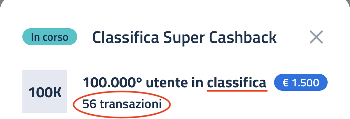 Classifica Super Bonus Cashback