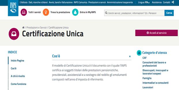 Pensionati, beneficiari della Naspi e della cassa integrazione Covid potranno scaricare sul sito dell'INPS la Certificazione Unica.