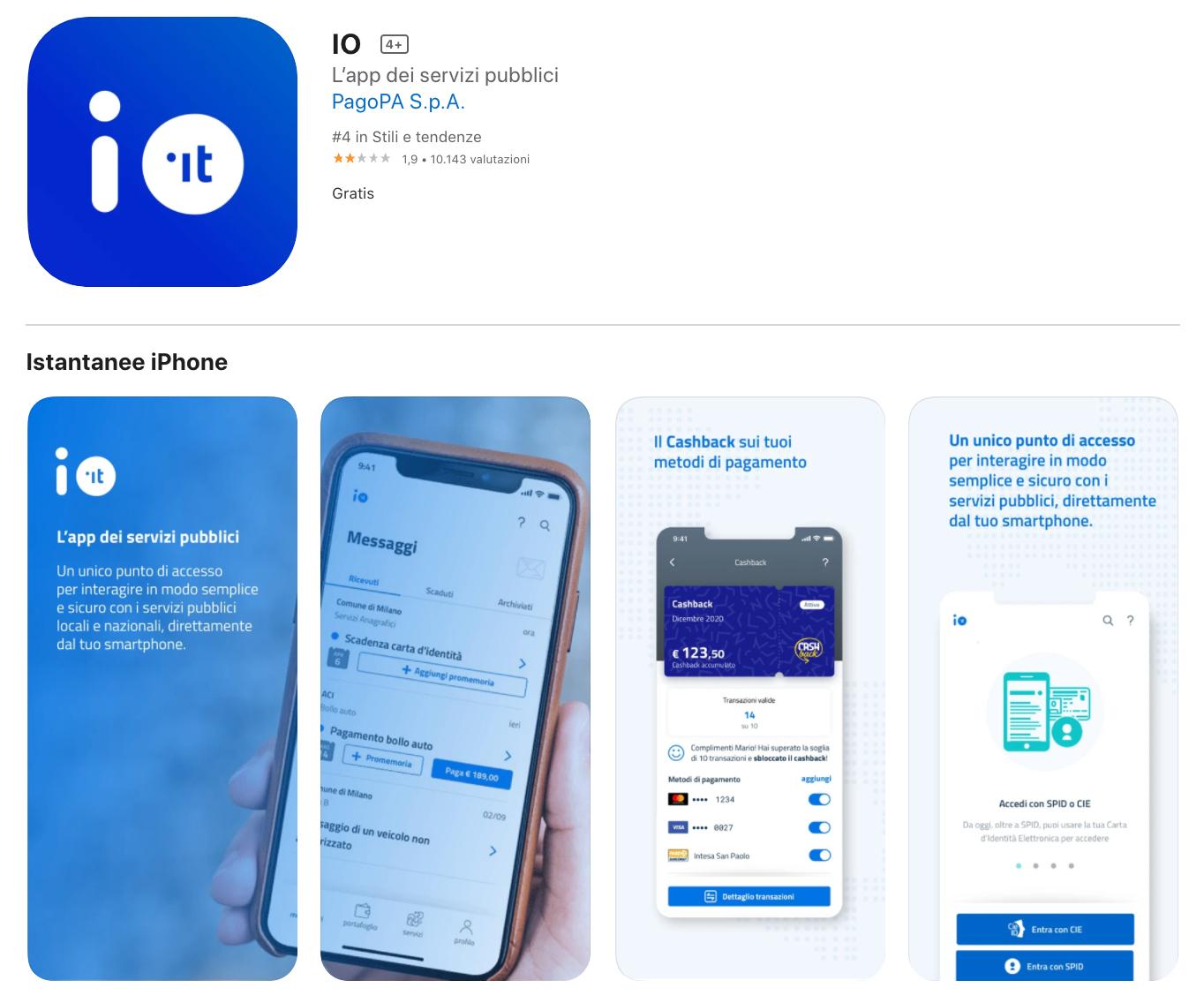App IO per aderire al cashback