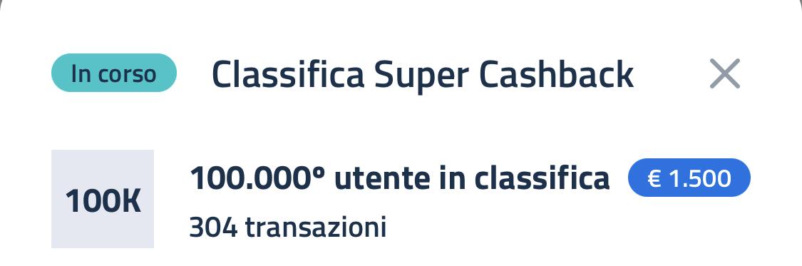 Super Bonus Cashback, classifica 30 aprile