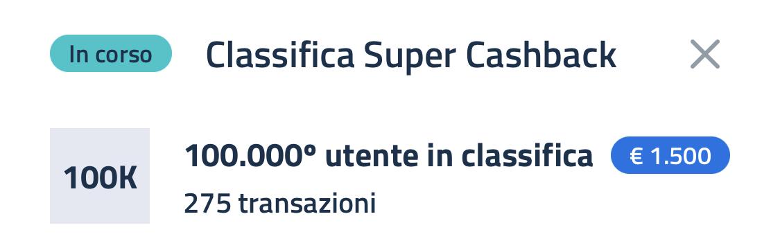 Super bonus Cashaback Classifica 23 aprile