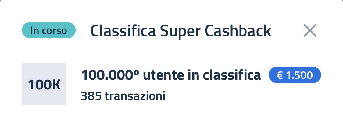Super Bonus Cashback classifica 15 maggio