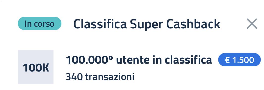 Super bonus cashback classifica
