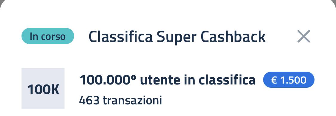 Super Bonus Cashback, classifica 28 maggio-1