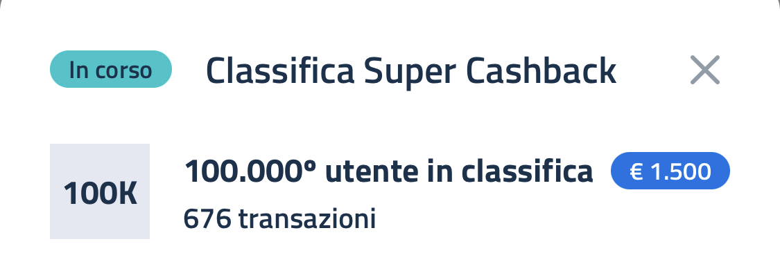 Super Bonus Cashback, classifica al 25 giugno