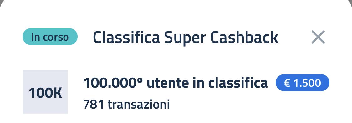 Super Bonus Cashback, classifica al 30 giugno
