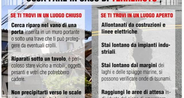 Cosa fare durante un terremoto: i consigli della Protezione Civile e Croce Rossa