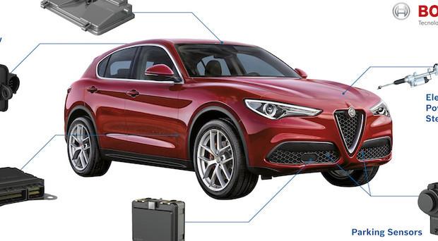 Alfa Romeo Stelvio: protagonista nello stand del Biscione al Salone dell'auto di Ginevra, Bosch mostra i sistemi di sicurezza del Suv