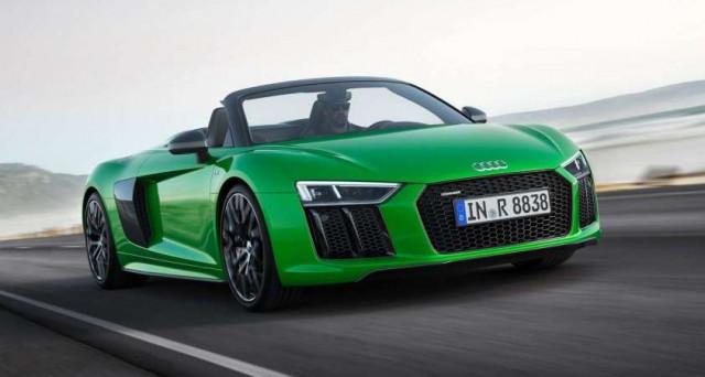 Audi R8 Spyder Plus è la versione più potente di questo veicolo capace di raggiungere i 610 cavali di potenza grazie al motore aspirato 5.2 litri FSI