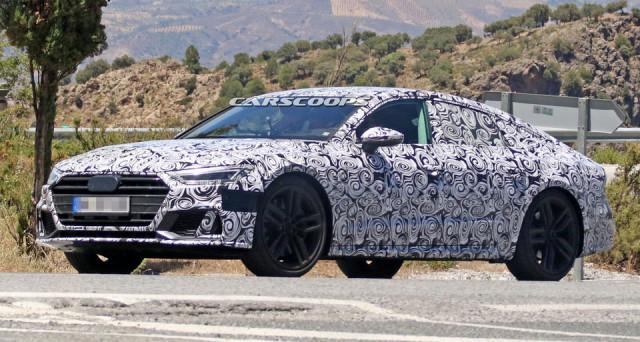 Nuove foto spia provenienti dal Sud dell'Europa mostrano il prototipo camuffato di Audi S7, la versione più potente della nuova A7