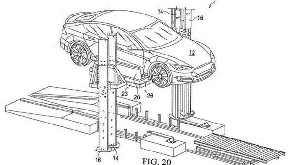 Tesla: ecco il brevetto recentemente depositato del sistema che promette in appena 15 minuti il cambio della batteria risolvendo il problema della ricarica.