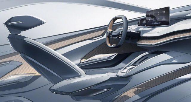 Prima immagine teaser del nuovo concept suv Skoda Vision iV che la casa automobilistica mostrerà al Salone di Ginevra