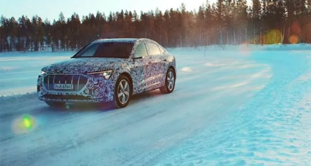 Audi ha pubblicato un filmato che mostra le capacità della nuova e-tron quattro Sportback sui laghi ghiacciati