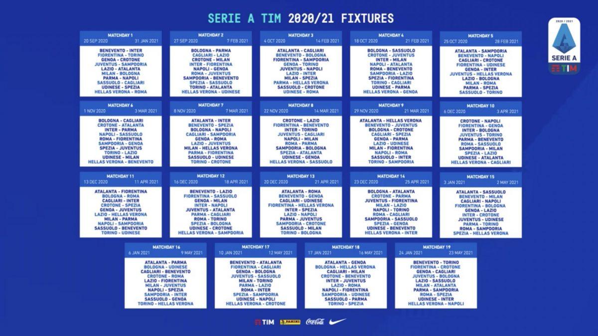 Serie A 2020 21 Il Calendario Completo Con Tutte Le Partite