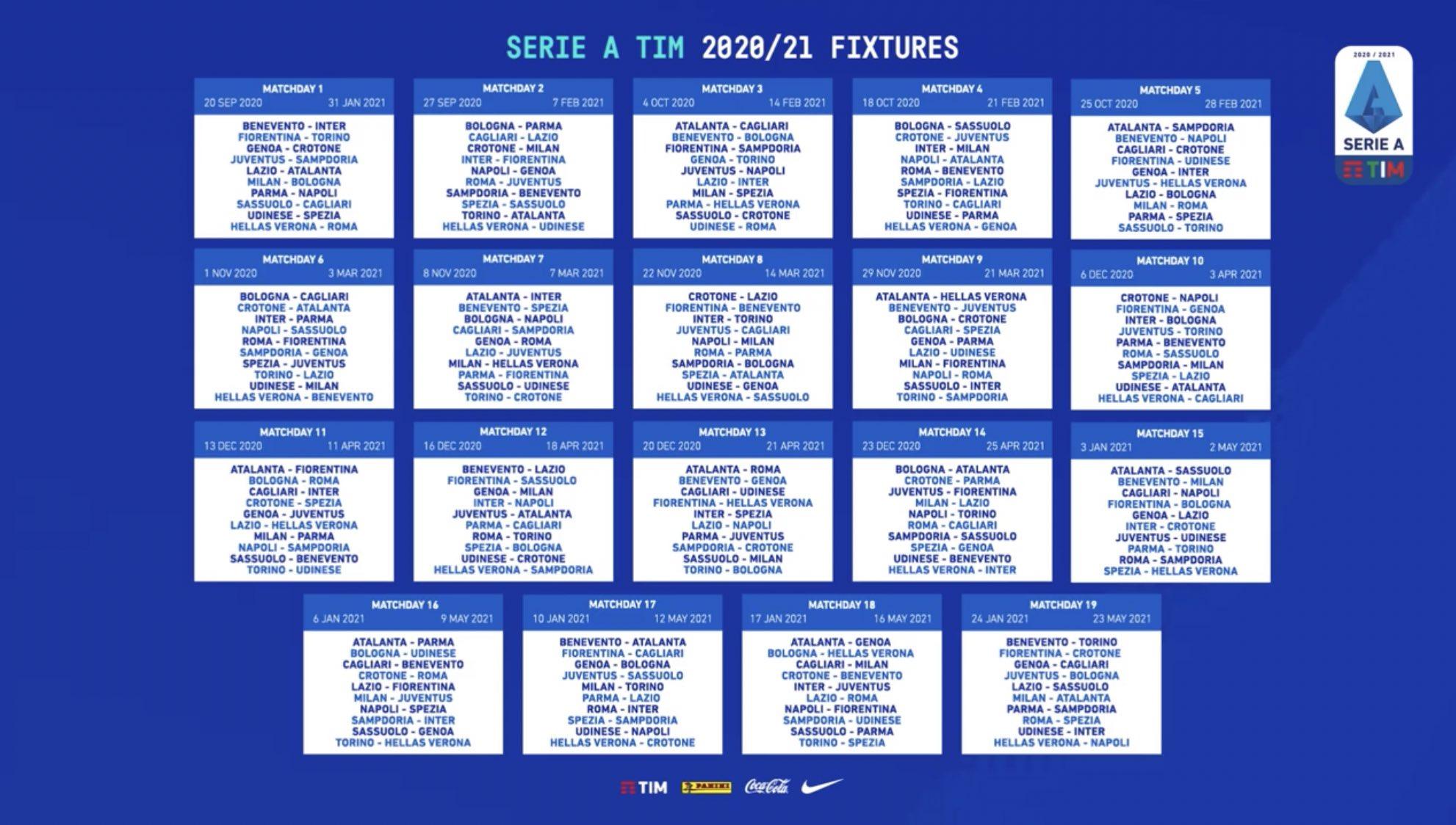 Serie A 2020/21, il calendario completo con tutte le partite