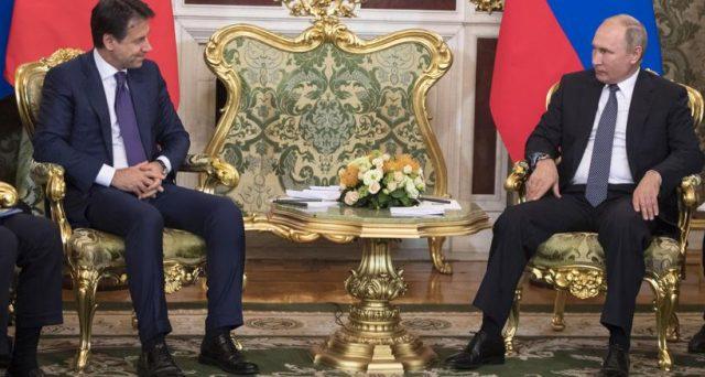 Putin ha incontrato il premier Conte per discutere del sostegno al debito pubblico italiano. Mosca contribuirà in cambio dell'abolizione delle sanzioni commerciali