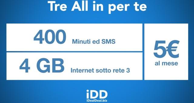 All in 400 Per te di 3 Italia continuerà fino alla fine si agosto. Ecco per chi è attivabile.