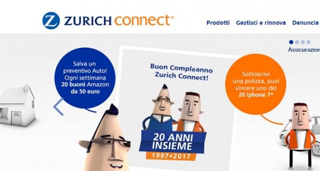 Ecco come fare per partecipare al concorso vinci 20 iPhone 7 da 32Gb, 180 Buoni Amazon da 50 e 100 euro con Zurich Connect. Tutte le info.