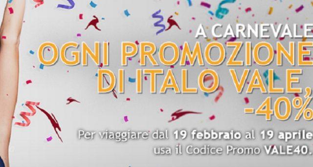 Ecco le offerte low cost di Italo Treno per Carnevale 2018 con sconti sui biglietti fino al 40% e sconti fino al 30% suoi carnet di viaggio.