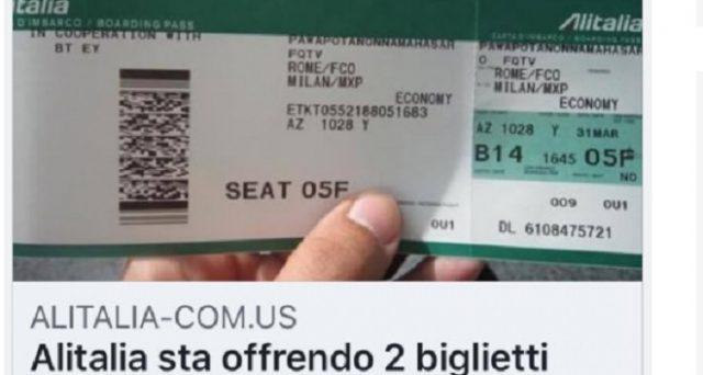 Ecco la nuova truffa che corre via web: Alitalia offre due biglietti gratuiti per il suo anniversario, vera è invece la promo smile days da 29 euro.