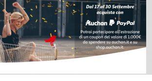 C'è l'accordo tra Auchan e Paypal: ecco le info in merito e come partecipare al concorso per vincere 1.000 euro in buoni spesa.