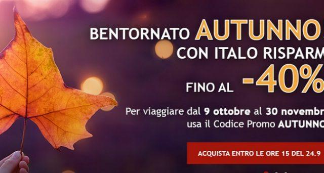 Ecco le offerte di Italo Treno di settembre 2018 tra cui Benvenuto Autunno e il concorso su come vincere 500 euro in voucher.