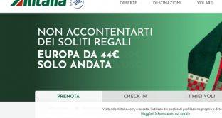 """Ecco le nuovissime offerte Alitalia """" non accontentarti dei soliti regali"""": con esse si potrà volare nel Mondo da 329 A/R."""