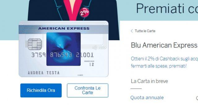 """Ecco le principali caratteristiche della carta di creditoBlu American Express e la promo di novembre 2018 """"premiati con il 2% di cashback""""."""