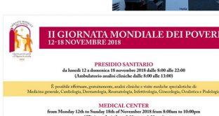 Ecco orari dei giorni per effettuare analisi e visite mediche gratuite nella giornata mondiale dei poveri il 18 novembre 2018.