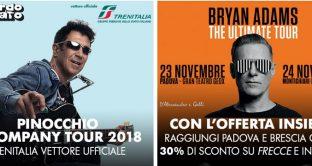 Ecco le offerte con sconti fino al 30% di Trenitalia per il concerto di Bryan Adams ed Edoardo Bennatosu Frecce ed IC.