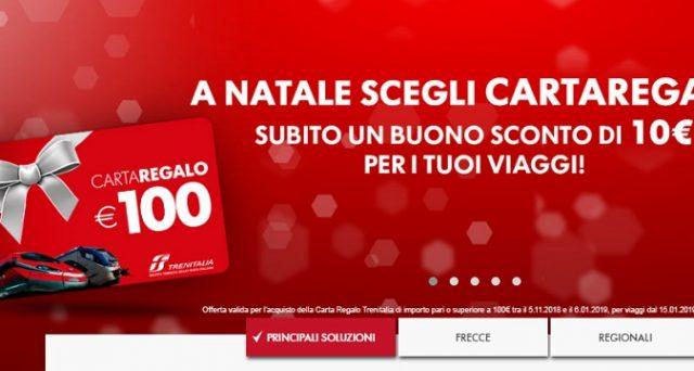 Acquista una carta regalo e ricevi 10 euro di buono sconto: ecco la promozione di Natale 2018 di Trenitalia.