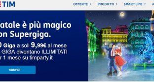 """Ecco le nuovissime offerte di TIM per Natale 2018 denominate """"Natale è più magico con i supergiga"""" e TIM party Natale con un mare di giga in 4G e cinema 2×1."""