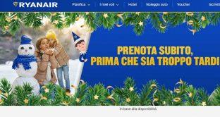 Offerta prenatalizia di Ryanair con voli low cost a partire da 5 euro e gift regalo da 25 euro.