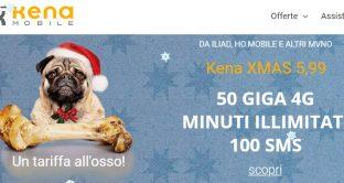 """Ecco le promo del momento di Natale 2018: la tariffa all'osso """"X-Mas"""" di Kena Mobile e quella Ho.Mobile, tutte a 5,99 euro."""