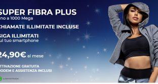 Ecco le offerte del momento da 24,90 euro Super Fibra di Tre Italia e Tim Connect Fibra di Tim con la fibra e chiamate illimitate.