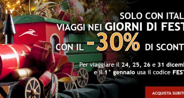 Italo Treno lancia le offerte di Natale 2018 e Capodanno 2019 con il 30% di sconto sui biglietti. Inoltre chi aprirà un conto corrente Arancio con Banca Ing Direct avrà un viaggio gratis: ecco i dettagli.