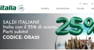 Arrivano i saldi italiani ed europei con Alitalia: sconti fino al 25% su tutti i voli.