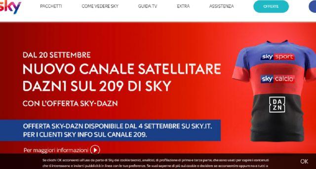 Il costo dell'offerta Sky-Dazn e quelli del momento dei tre abbonamenti a Sky.
